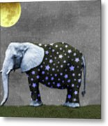 The Elephant And The Moon Metal Print