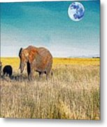 The Elephant Herd Metal Print