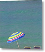 The Emerald Coast With Beach Chairs Metal Print