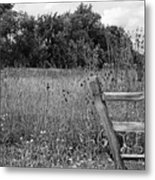 The End Of The Fence Bw Metal Print