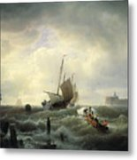 The Entrance To The Harbour At Hellevoetsluys Metal Print