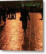 The Entrance To The Western Wall At Night Metal Print