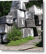 The Faces In The Stone Blocks Metal Print