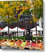 The Fall Harvest Is In Kendall Square Farmers Market Foliage Metal Print