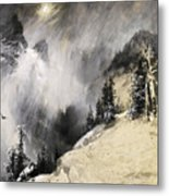The Falling Flakes Mountain Scene. Yosemite A Mountain Snowfall Metal Print
