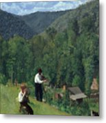The Farmer And His Son At Harvesting Metal Print