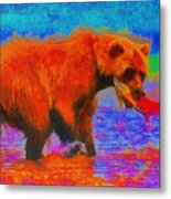 The Fishing Bear - Da Metal Print