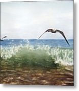 The Flying Instant Of Surf Metal Print