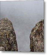 The Fog Through The Rocks Metal Print
