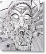 The Fool The King Original Black And White Pen Art By Rune Larsen Metal Print