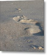 The Footprint Of Invisible Man On The Sand Metal Print