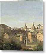 The Forum Seen From The Farnese Gardens Metal Print by Jean Baptiste Camille Corot