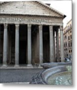 The Fountain In Front Of Pantheon Metal Print