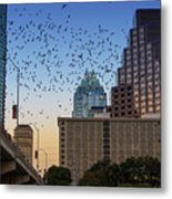 The Frost Bank Tower Stands Guard As 1.5 Million Mexican Free-tail Bats Overtake The Austin Skyline As They Exit The Congress Avenue Bridge Metal Print