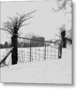 The Frozen Gate Black And White Metal Print