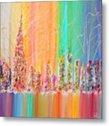 The Future City Abstract Painting  Metal Print by Julia Apostolova