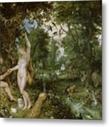 The Garden Of Eden With The Fall Of Man Metal Print
