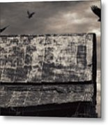 The Gathering - Vultures Above An Old Barn Metal Print