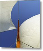 The Genoa And Mainsail Of A Classic Sailboat Metal Print