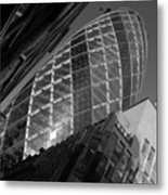 The Gherkin Black And White Metal Print