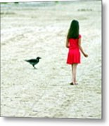 The Girl And The Raven Metal Print