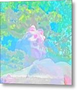 The Girl In The Pink Light Metal Print