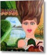 The Girl With A Wooden Hair Metal Print