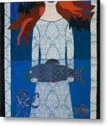 The Girl With Bats And Fish Metal Print