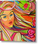 The Girl With The Flowers In Her Hair Metal Print