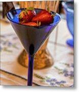 The Glass Of Strawberries Metal Print