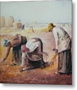 The Gleaners After Millet By My Dad Metal Print