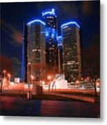 The Gm Renaissance Center At Night From Hart Plaza Detroit Michigan Metal Print