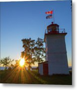 The Goderich Lighthouse At Sunset Metal Print
