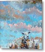 The Golden Flock - Colorful Sheep Art Metal Print