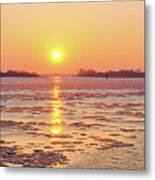The Golden Hour And Ice Drift Metal Print