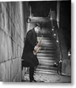 The Golden Saxophone Player Metal Print