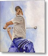 The Golfer Metal Print
