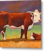 The Good Mom Folk Art Hereford Cow And Calf Metal Print
