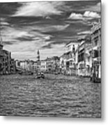 The Grand Canal Bw Metal Print