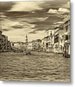 The Grand Canal - Paint Sepia Metal Print