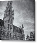 The Grandeur Of The Grand Place Brussels In Black And White  Metal Print