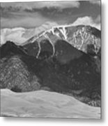 The Great Colorado Sand Dunes  125 Black And White Metal Print
