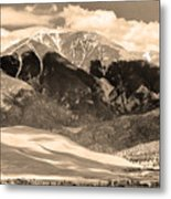The Great Colorado Sand Dunes In Sepia Metal Print