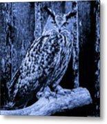 Majestic Great Horned Owl Blue Indigo Metal Print
