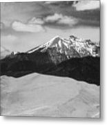 The Great Sand Dunes And Sangre De Cristo Mountains - Bw Metal Print