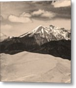 The Great Sand Dunes And Sangre De Cristo Mountains - Sepia Metal Print