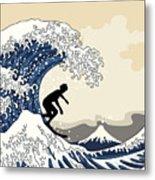 The Great Surfer Off Kanagawa Metal Print