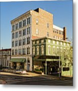 The Green Building On The Corner Metal Print