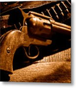 The Gun That Won The West - Sepia Metal Print