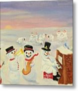 The Happy Snowman Band Metal Print